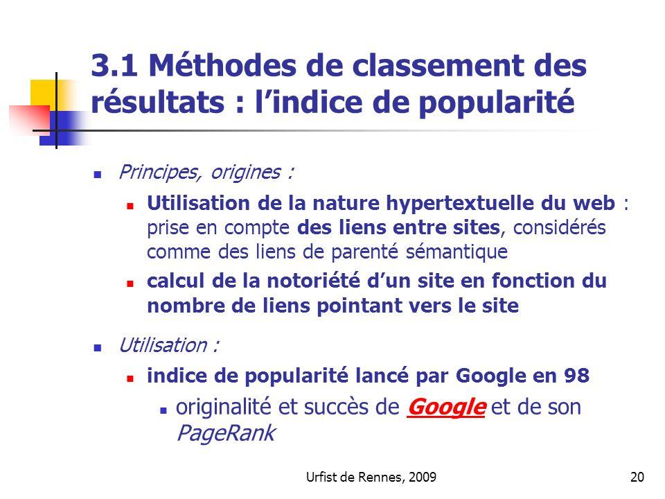 3.1 Méthodes de classement des résultats : l'indice de popularité