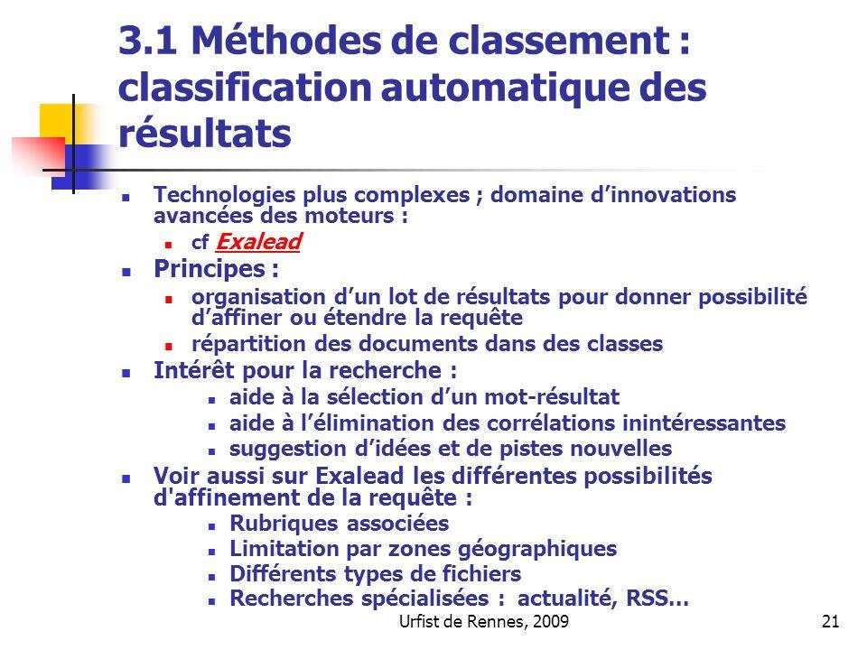 3.1 Méthodes de classement : classification automatique des résultats
