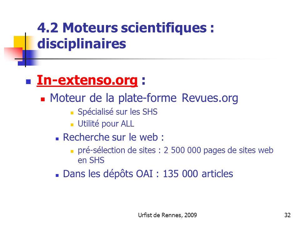 4.2 Moteurs scientifiques : disciplinaires