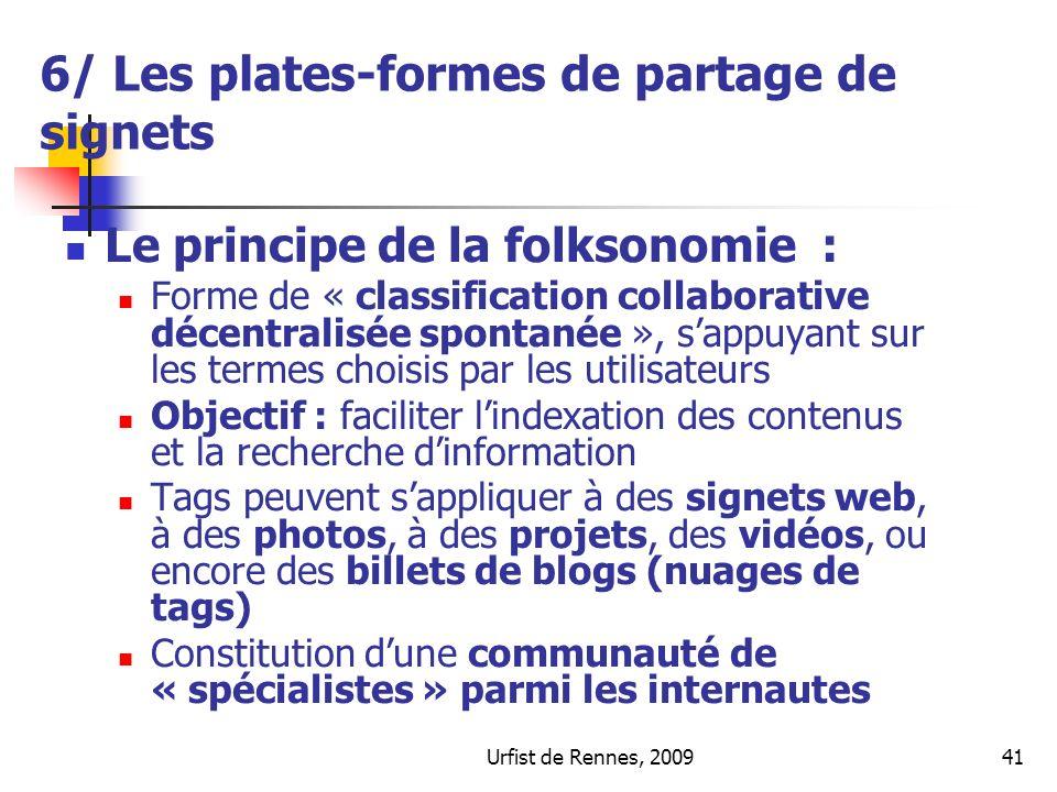 6/ Les plates-formes de partage de signets