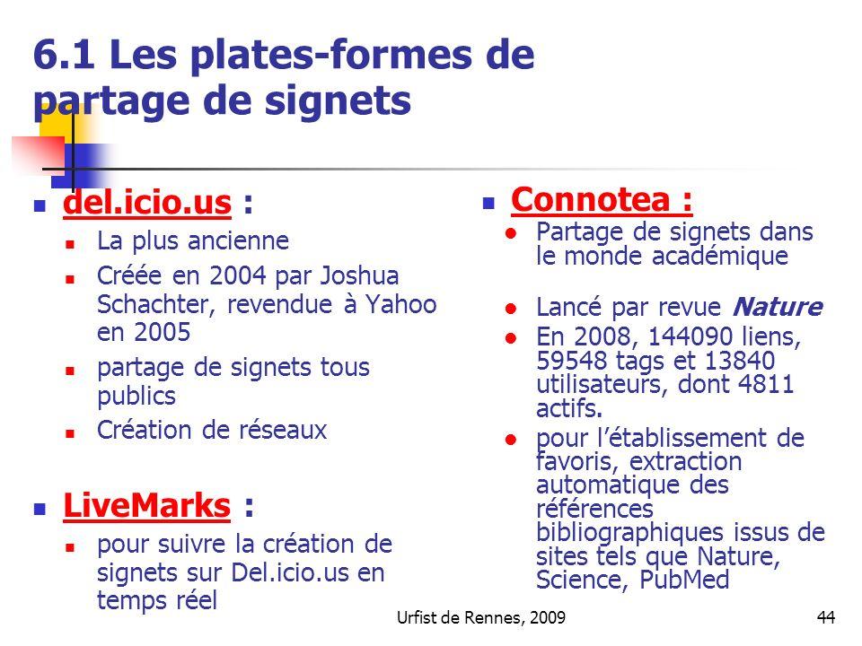 6.1 Les plates-formes de partage de signets