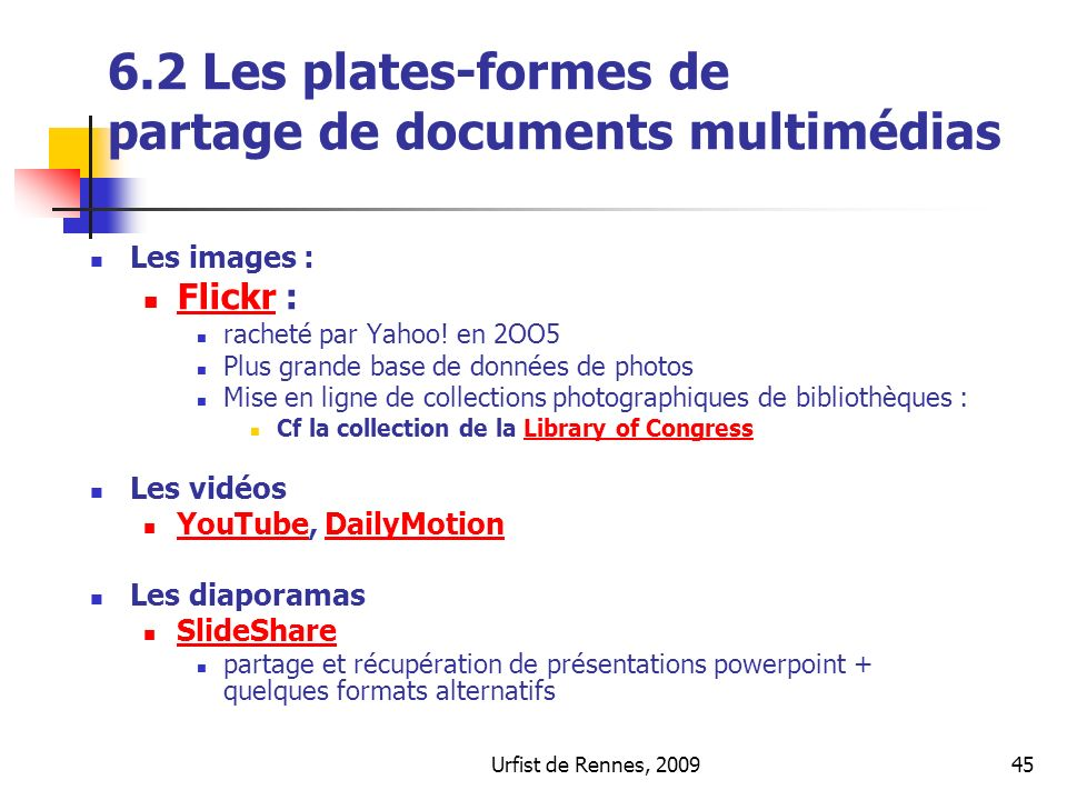 6.2 Les plates-formes de partage de documents multimédias