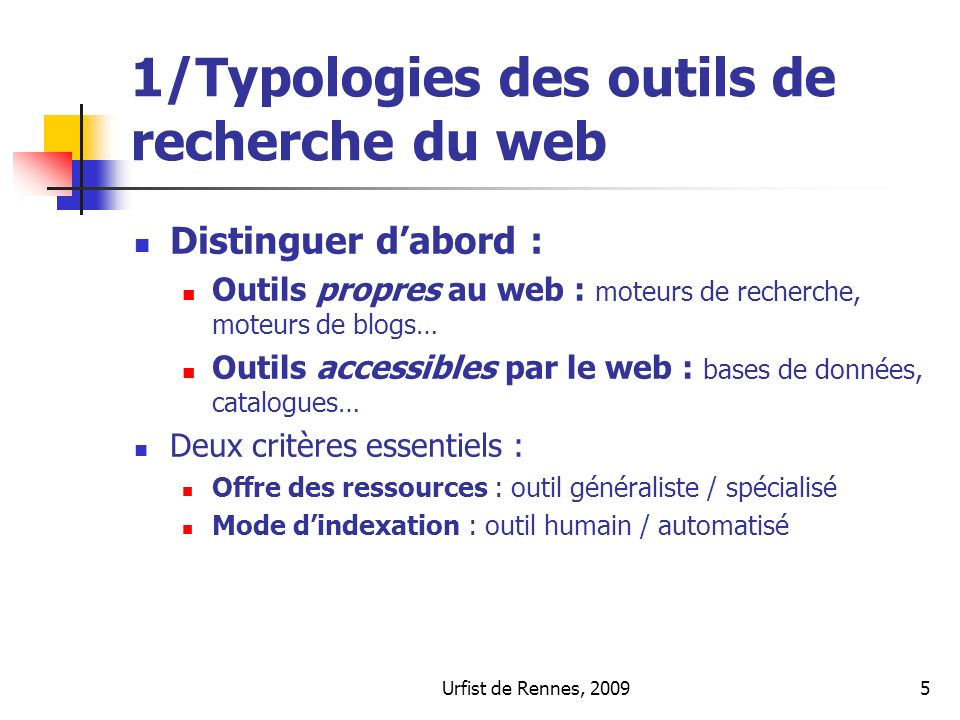 1/Typologies des outils de recherche du web