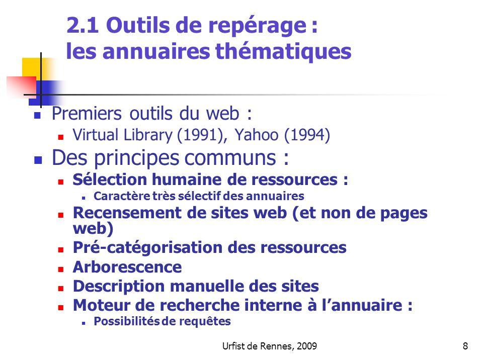 2.1 Outils de repérage : les annuaires thématiques