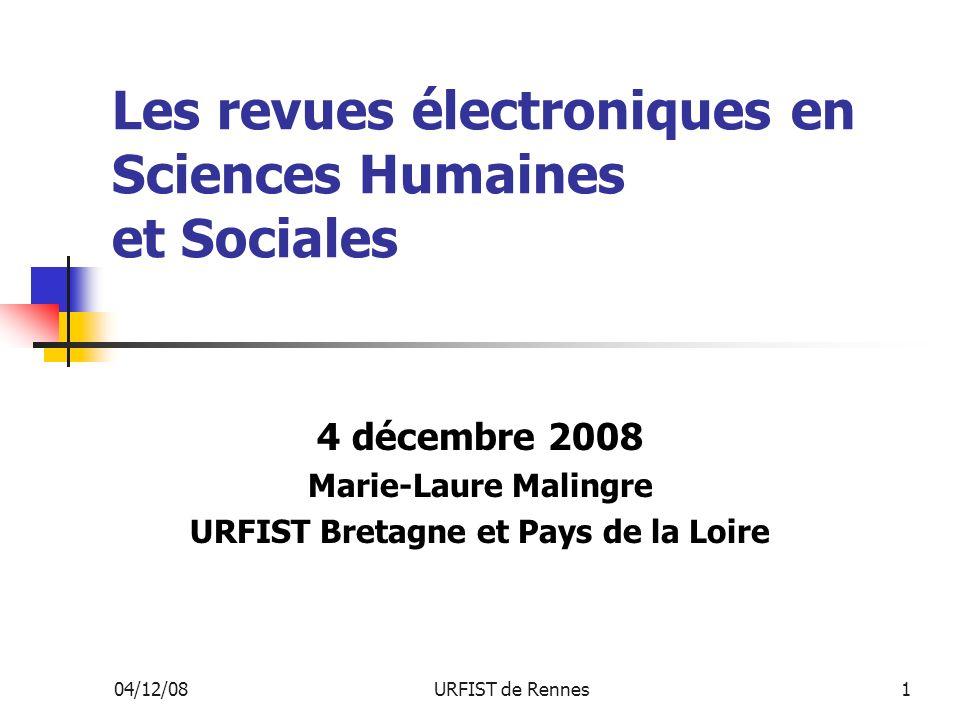 Les revues électroniques en Sciences Humaines et Sociales