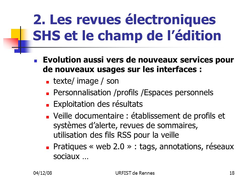 2. Les revues électroniques SHS et le champ de l'édition