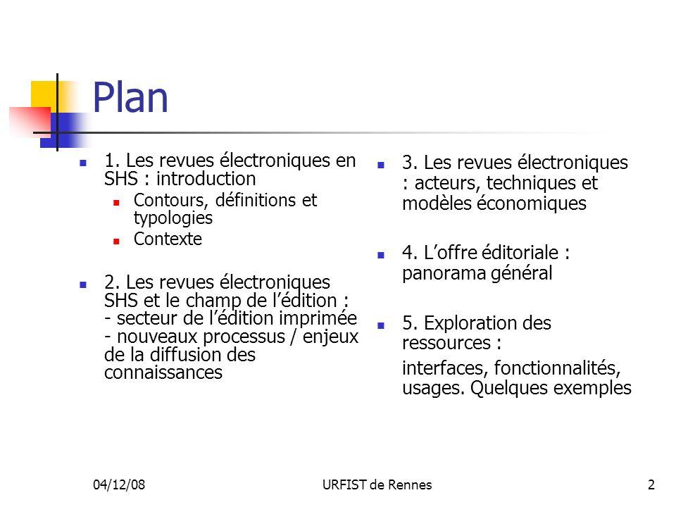 Plan 1. Les revues électroniques en SHS : introduction