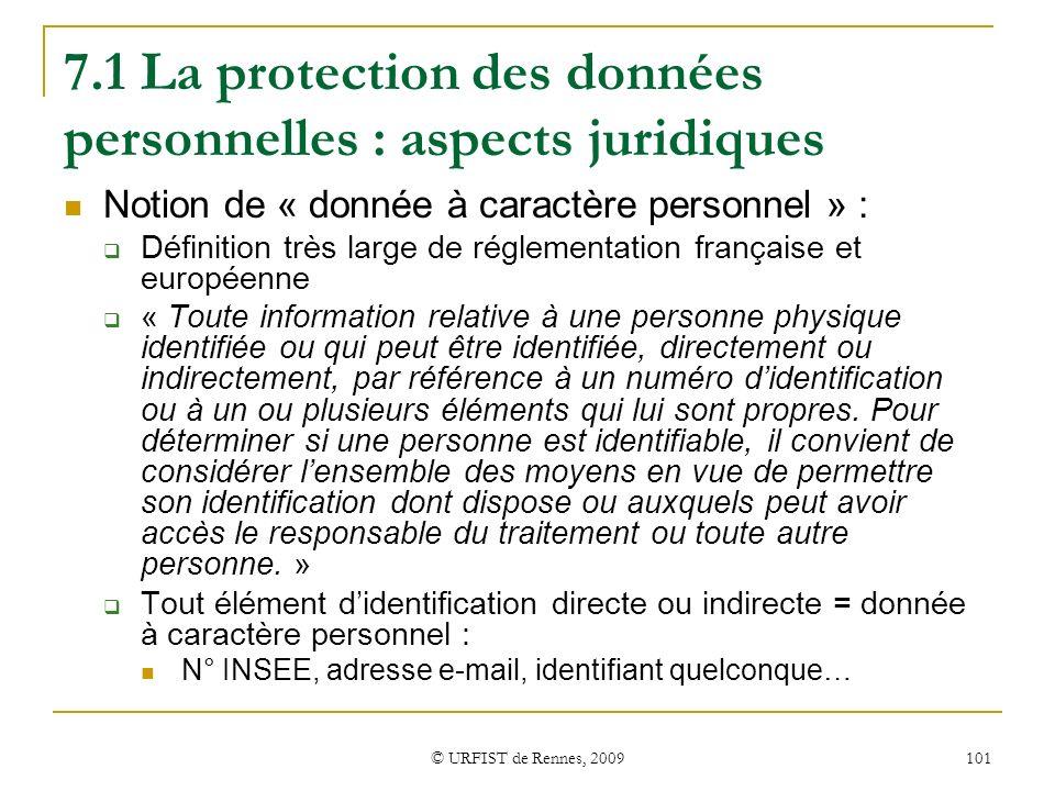 7.1 La protection des données personnelles : aspects juridiques