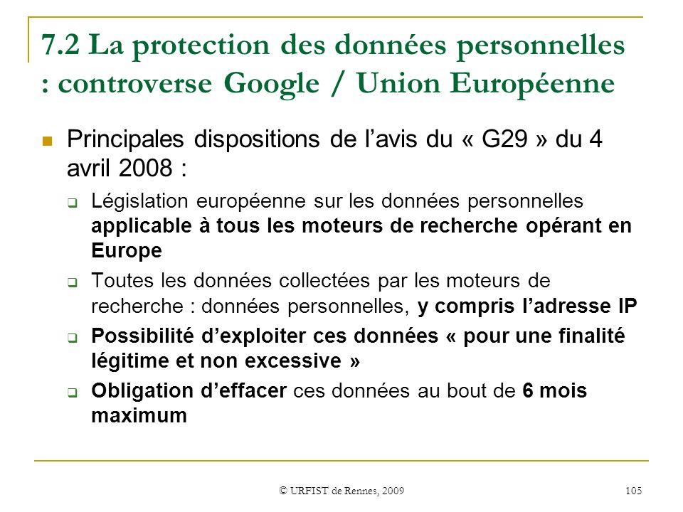 7.2 La protection des données personnelles : controverse Google / Union Européenne