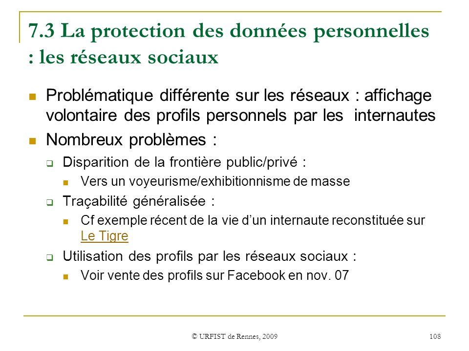 7.3 La protection des données personnelles : les réseaux sociaux