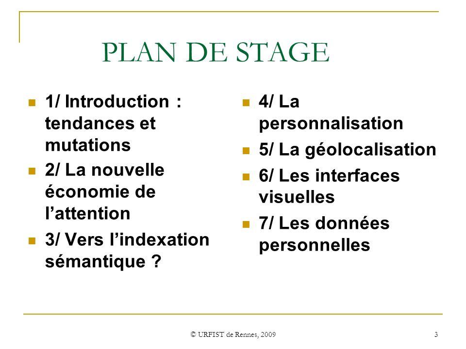 PLAN DE STAGE 1/ Introduction : tendances et mutations