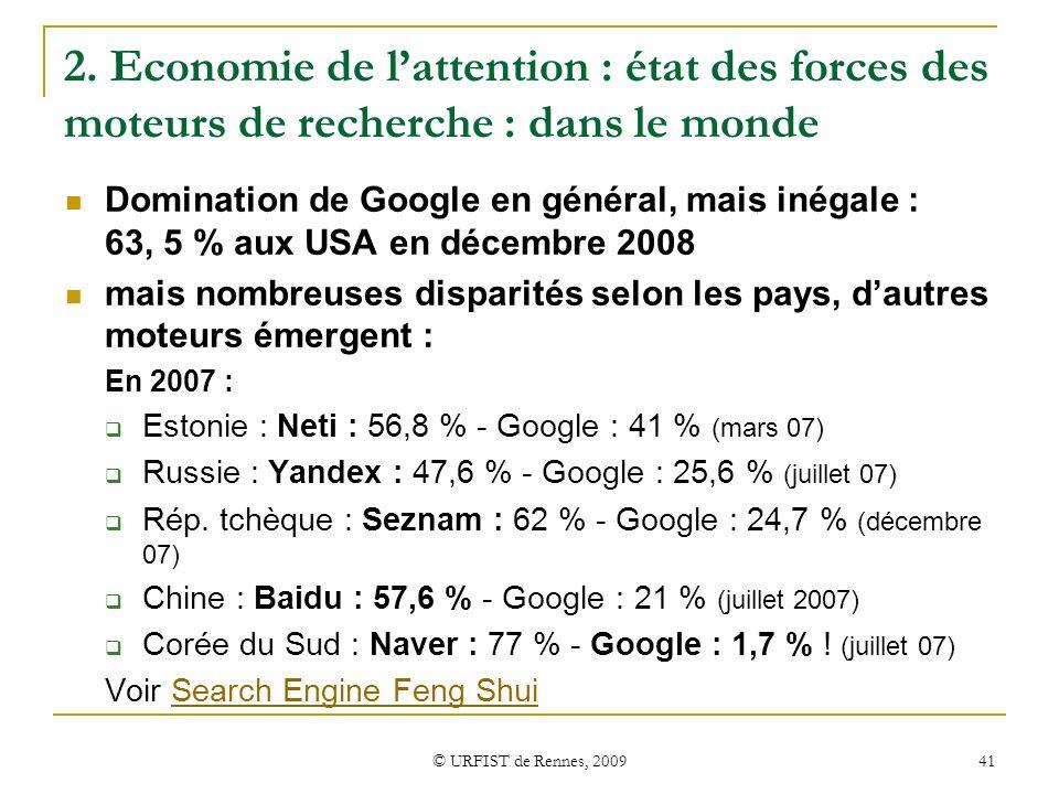 2. Economie de l'attention : état des forces des moteurs de recherche : dans le monde