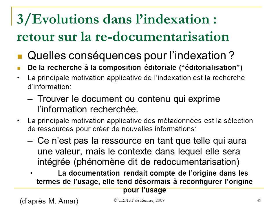 3/Evolutions dans l'indexation : retour sur la re-documentarisation