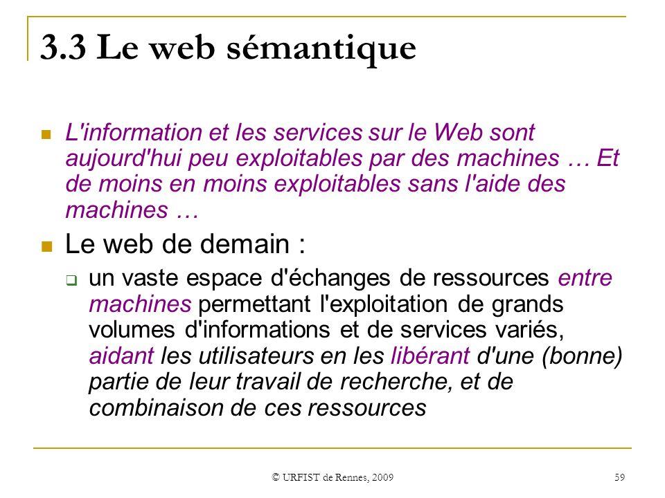 3.3 Le web sémantique Le web de demain :