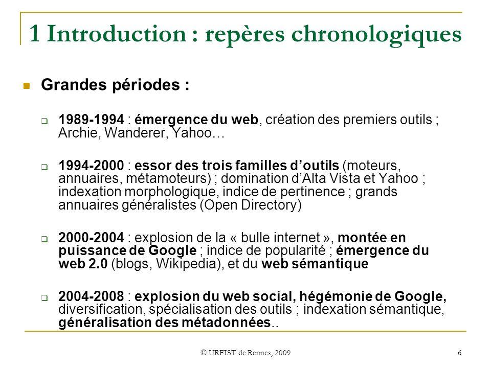 1 Introduction : repères chronologiques
