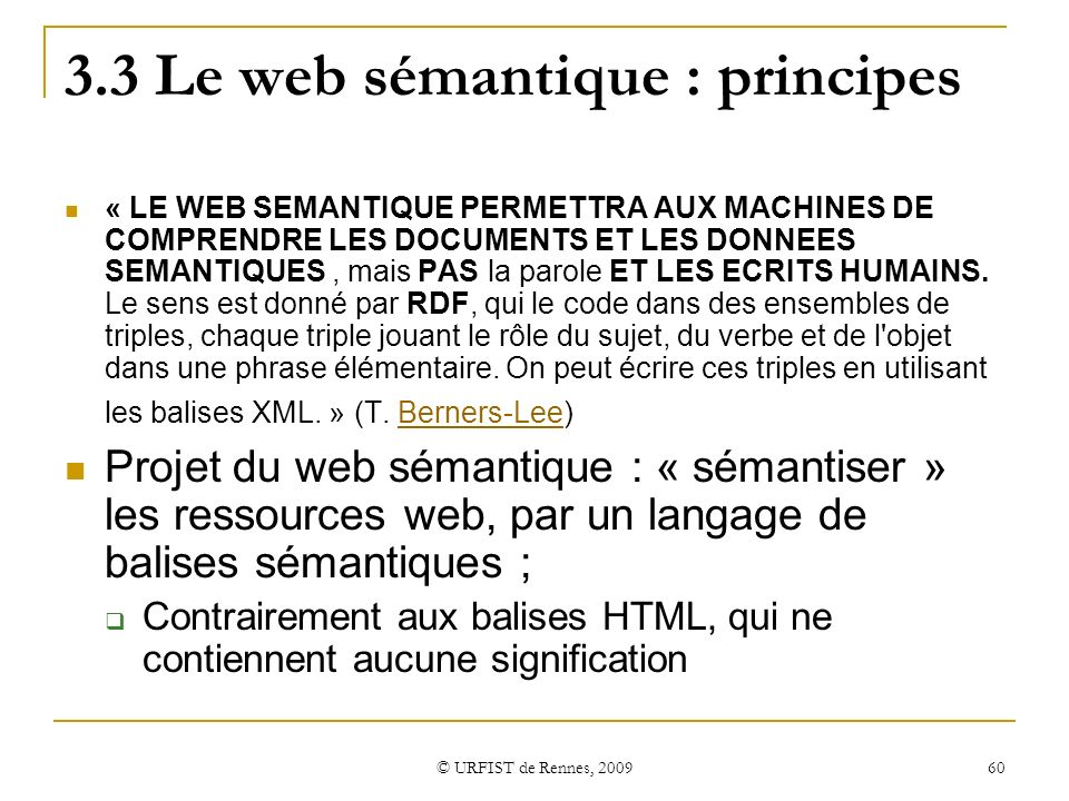 3.3 Le web sémantique : principes