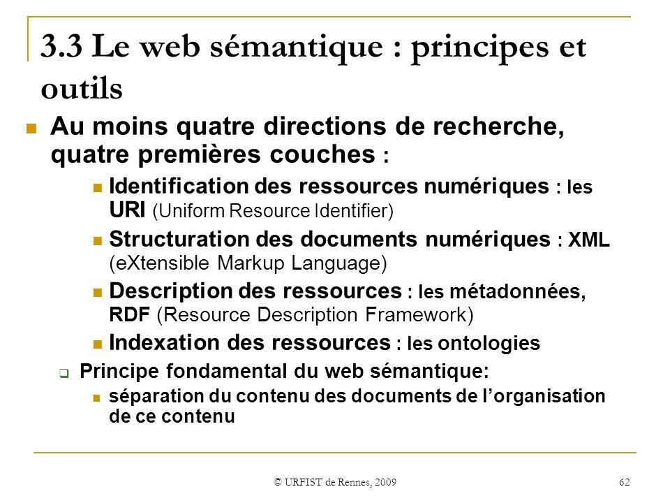 3.3 Le web sémantique : principes et outils
