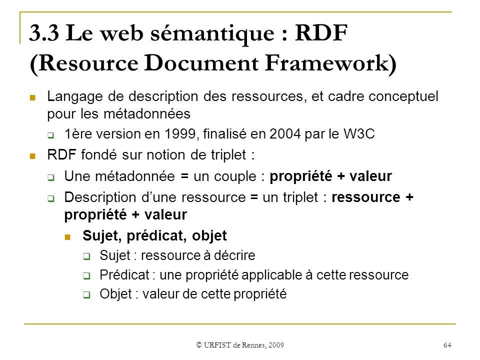 3.3 Le web sémantique : RDF (Resource Document Framework)