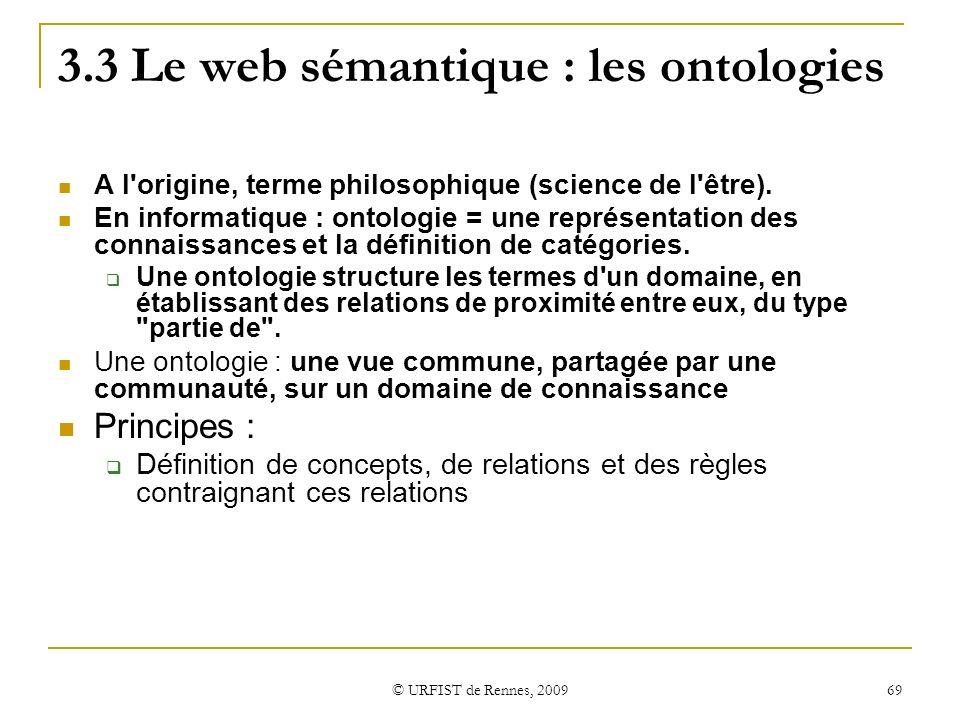 3.3 Le web sémantique : les ontologies