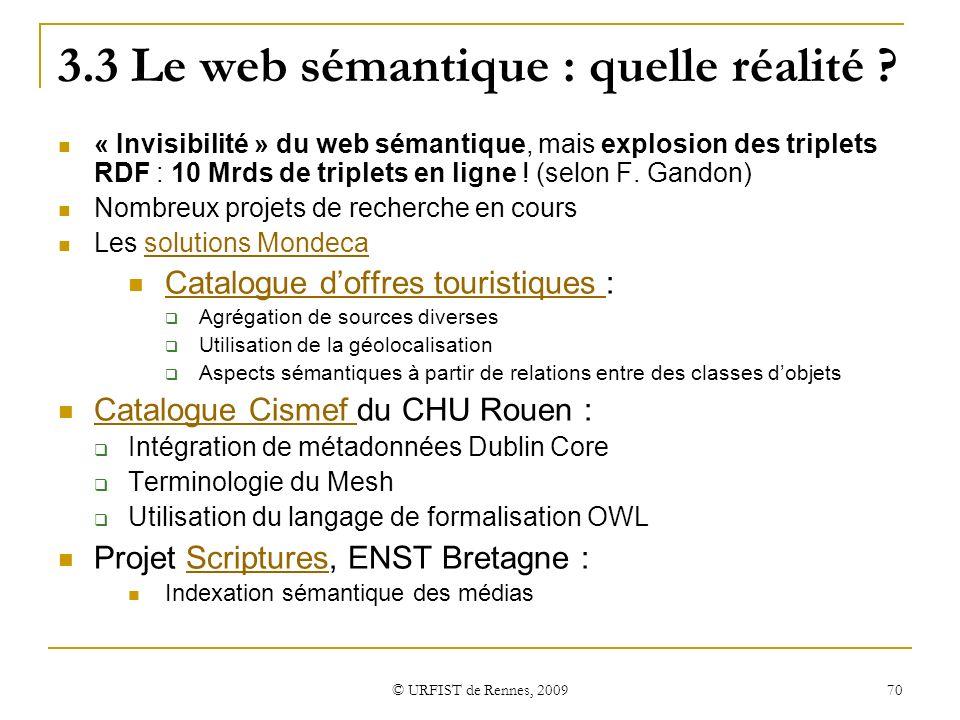 3.3 Le web sémantique : quelle réalité
