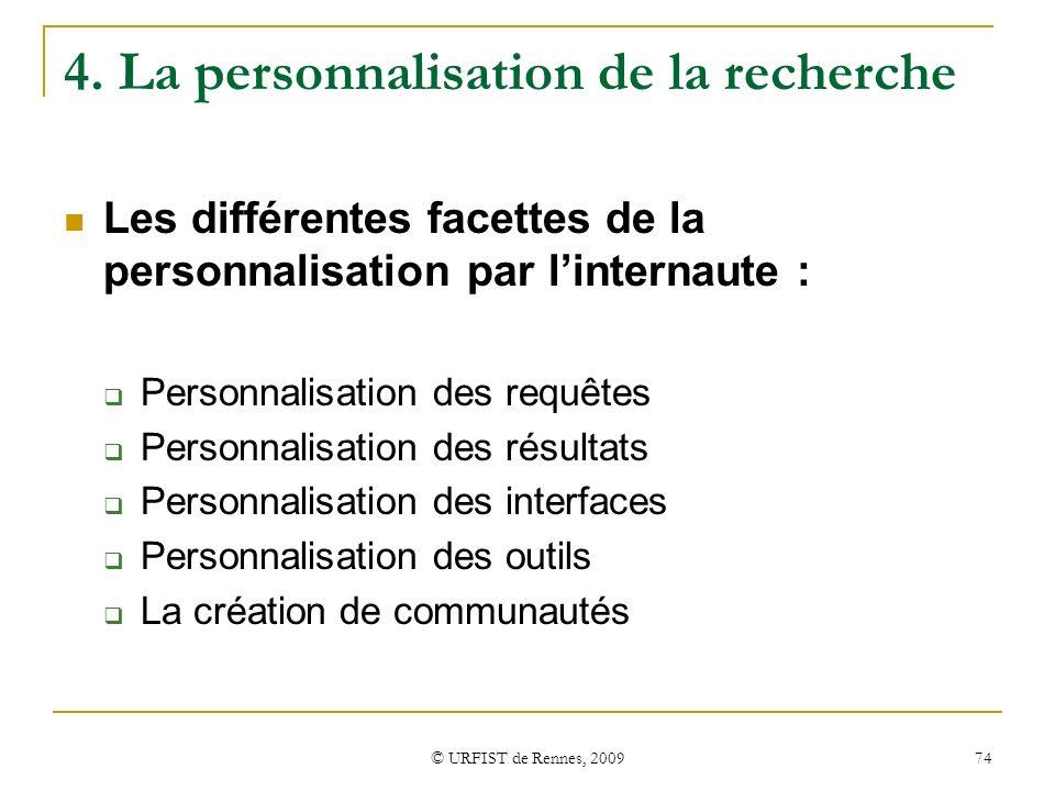 4. La personnalisation de la recherche