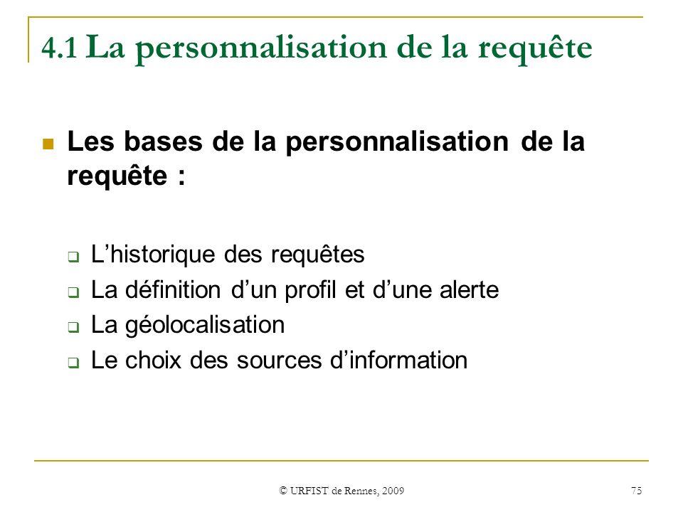 4.1 La personnalisation de la requête