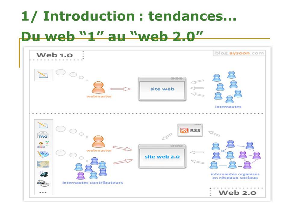 1/ Introduction : tendances... Du web 1 au web 2.0