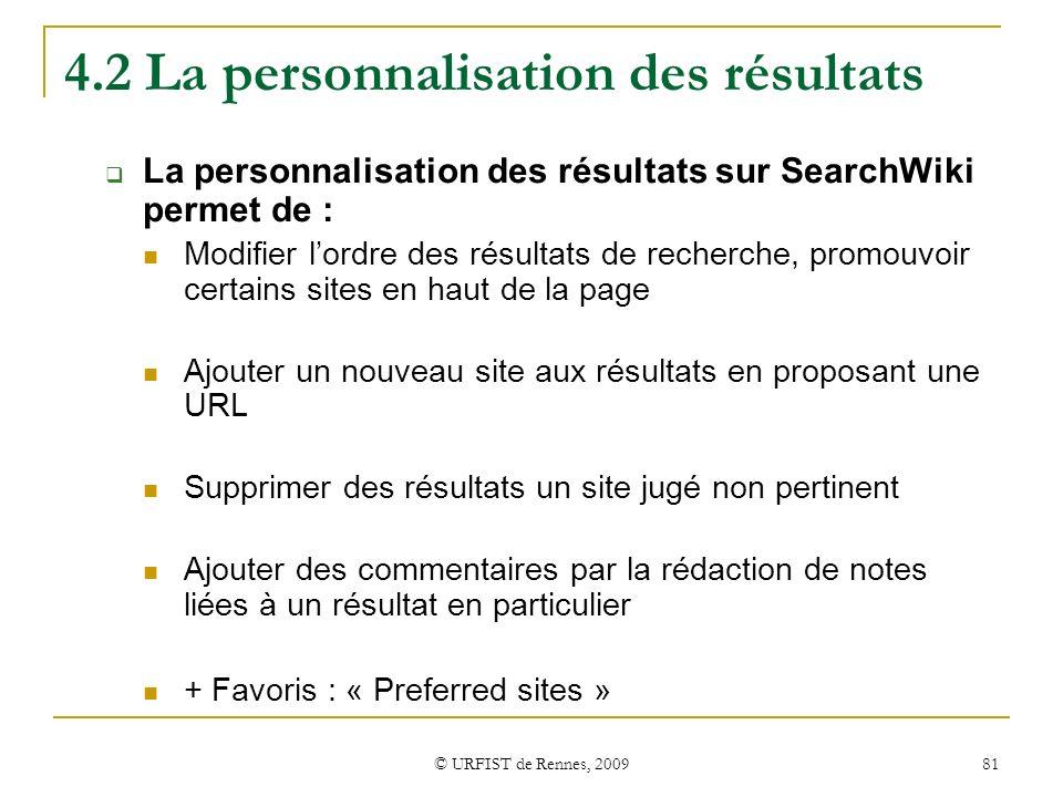 4.2 La personnalisation des résultats