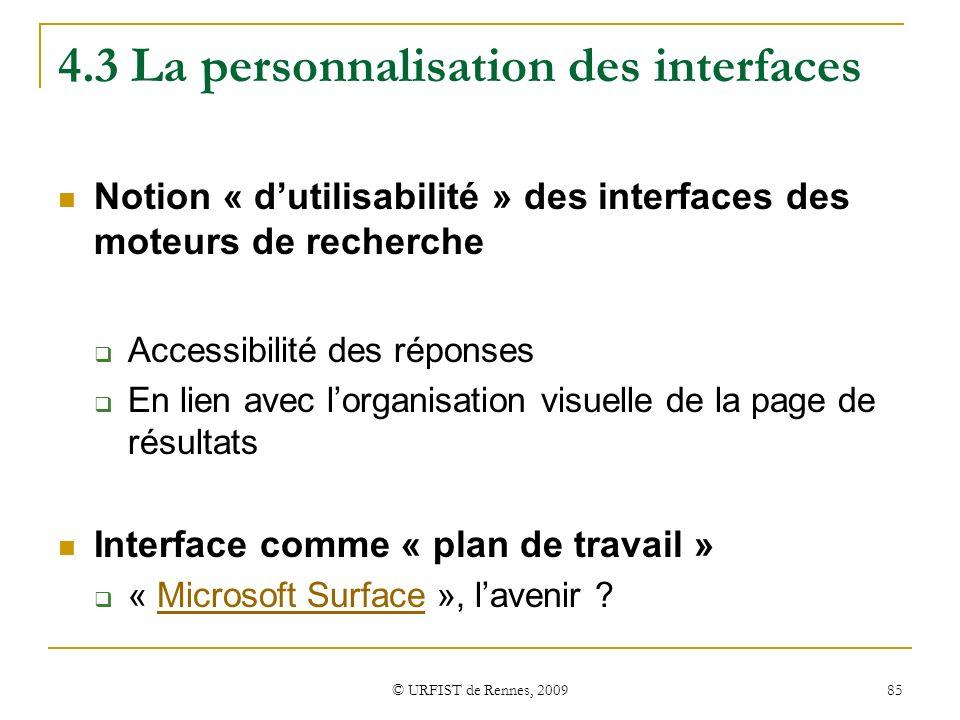 4.3 La personnalisation des interfaces