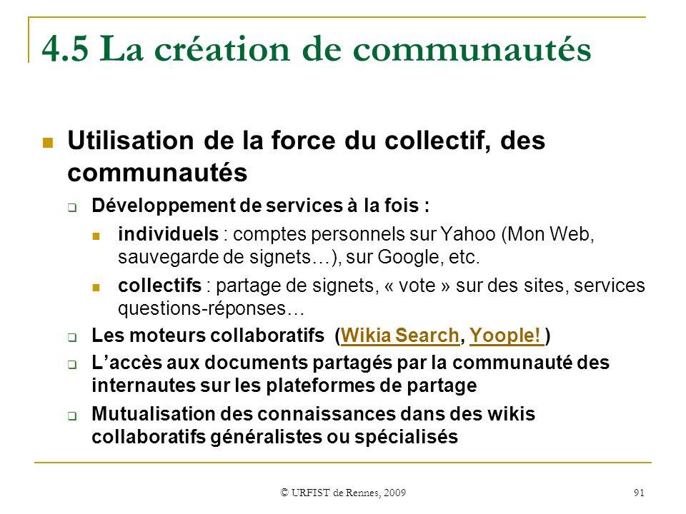 4.5 La création de communautés