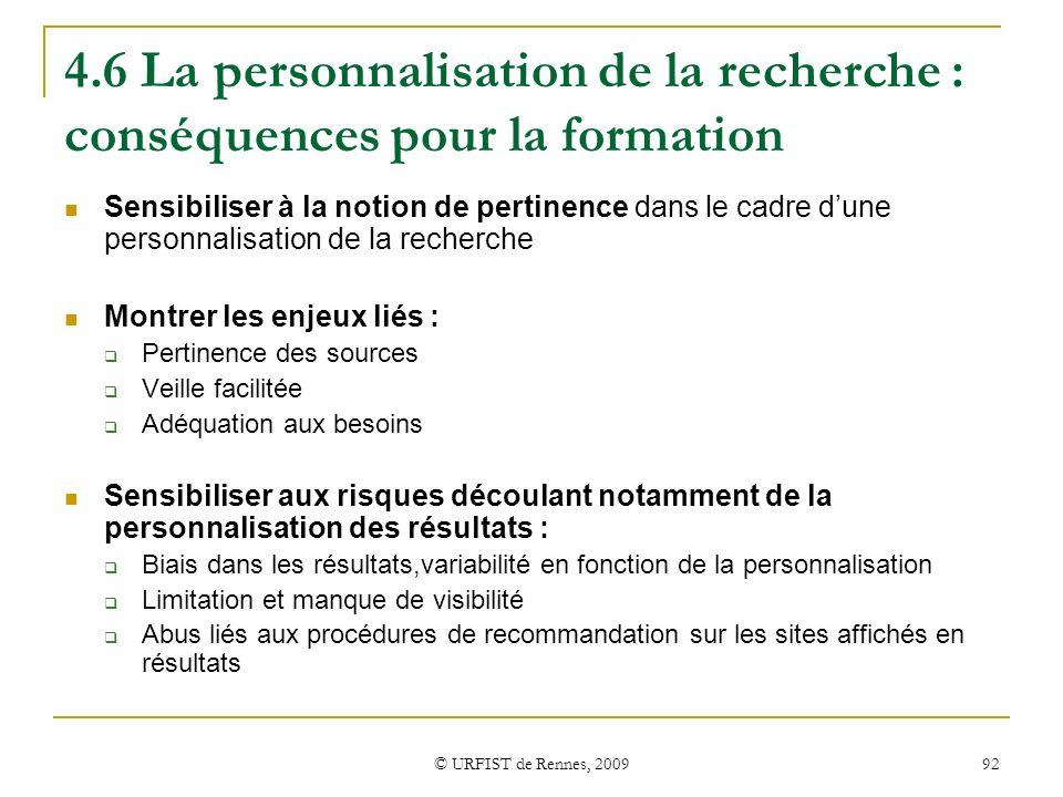 4.6 La personnalisation de la recherche : conséquences pour la formation