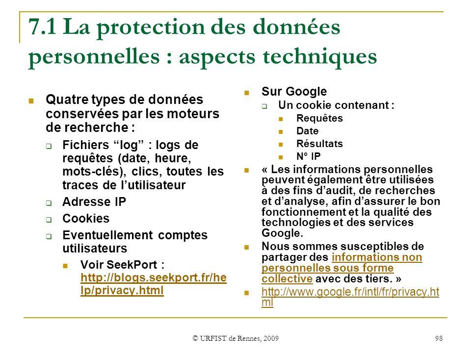 7.1 La protection des données personnelles : aspects techniques