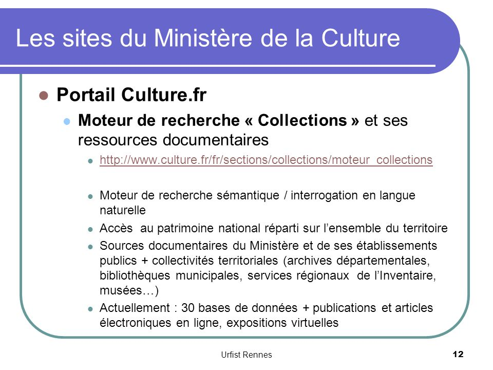 Les sites du Ministère de la Culture