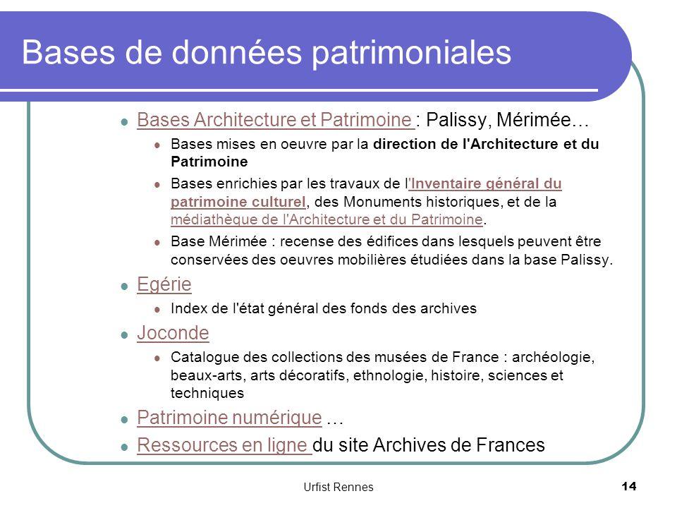 Bases de données patrimoniales