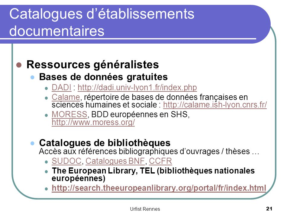 Catalogues d'établissements documentaires