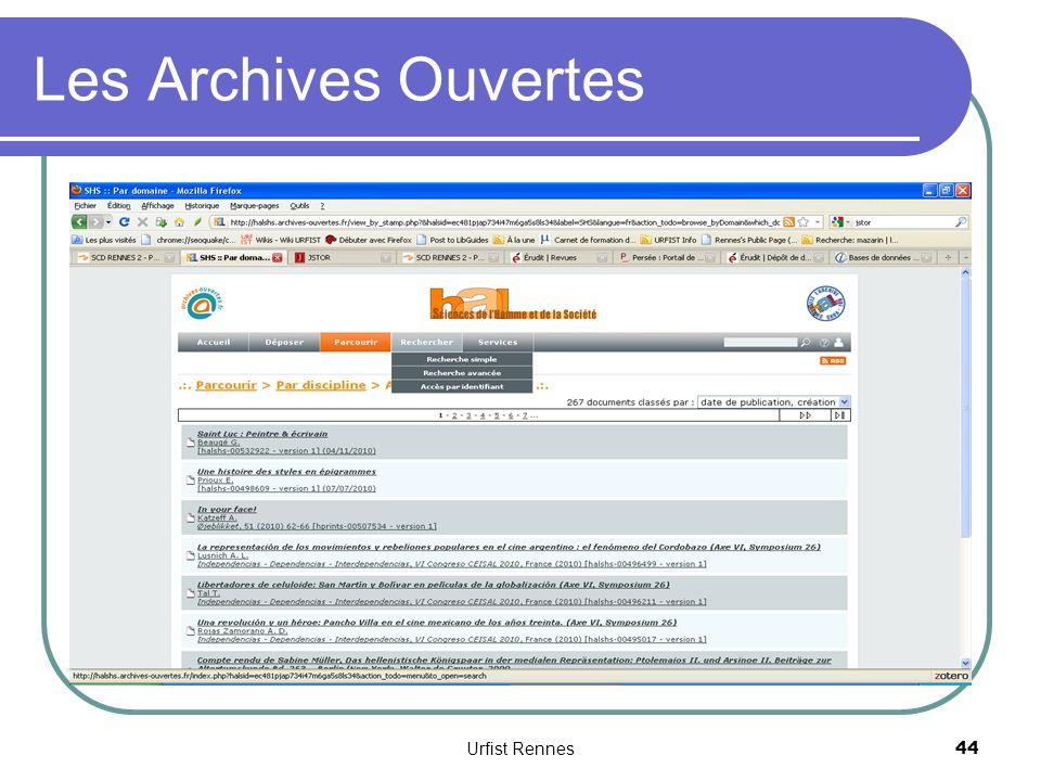 Les Archives Ouvertes Urfist Rennes