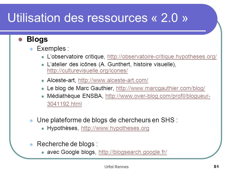 Utilisation des ressources « 2.0 »