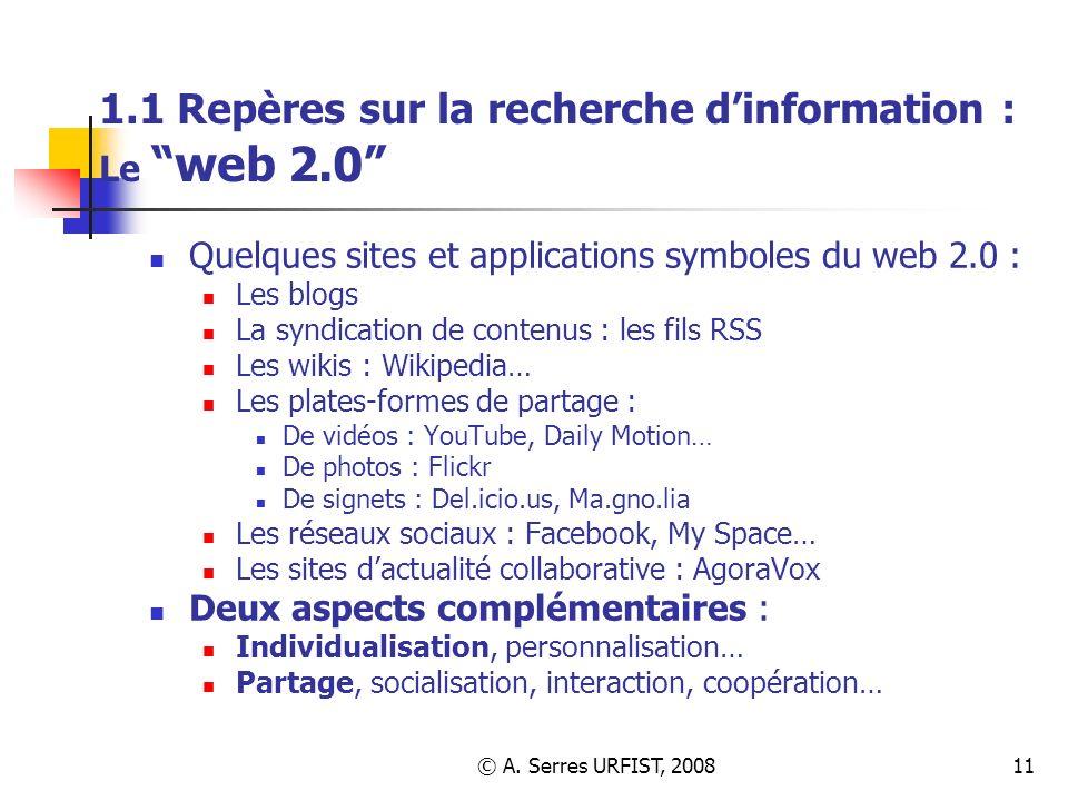 1.1 Repères sur la recherche d'information : Le web 2.0