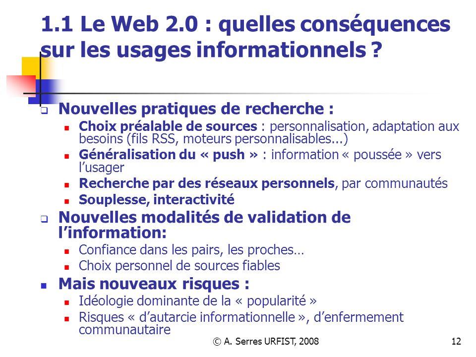 1.1 Le Web 2.0 : quelles conséquences sur les usages informationnels