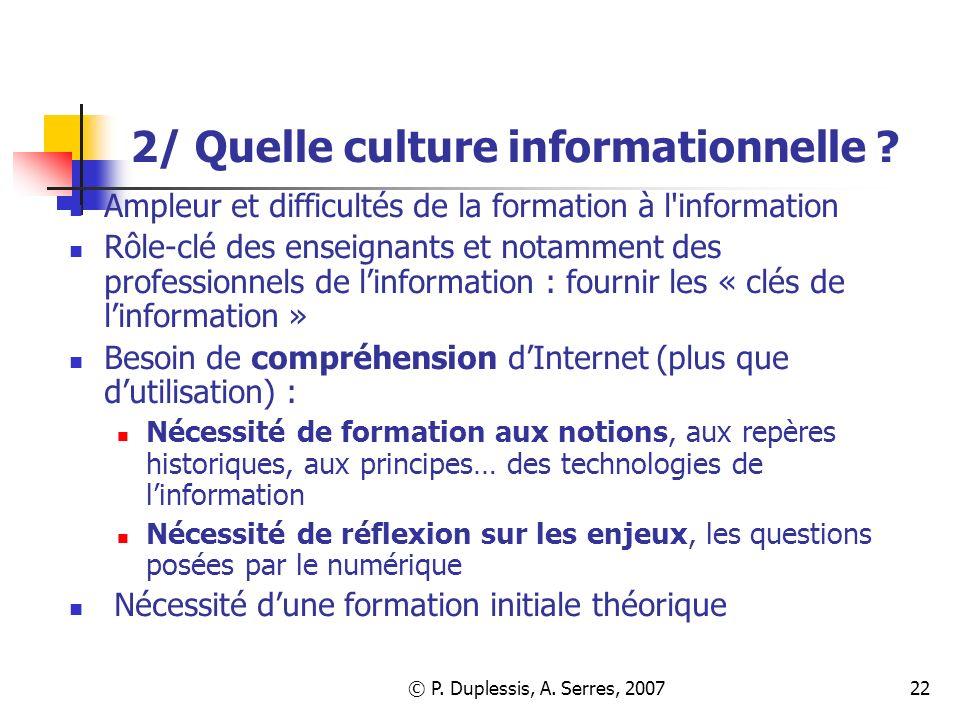 2/ Quelle culture informationnelle