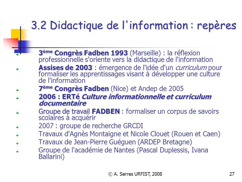 3.2 Didactique de l information : repères
