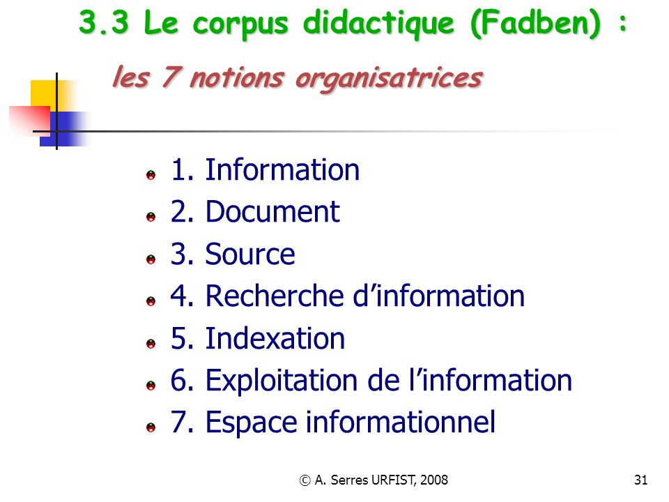 3.3 Le corpus didactique (Fadben) : les 7 notions organisatrices