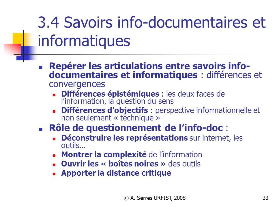 3.4 Savoirs info-documentaires et informatiques