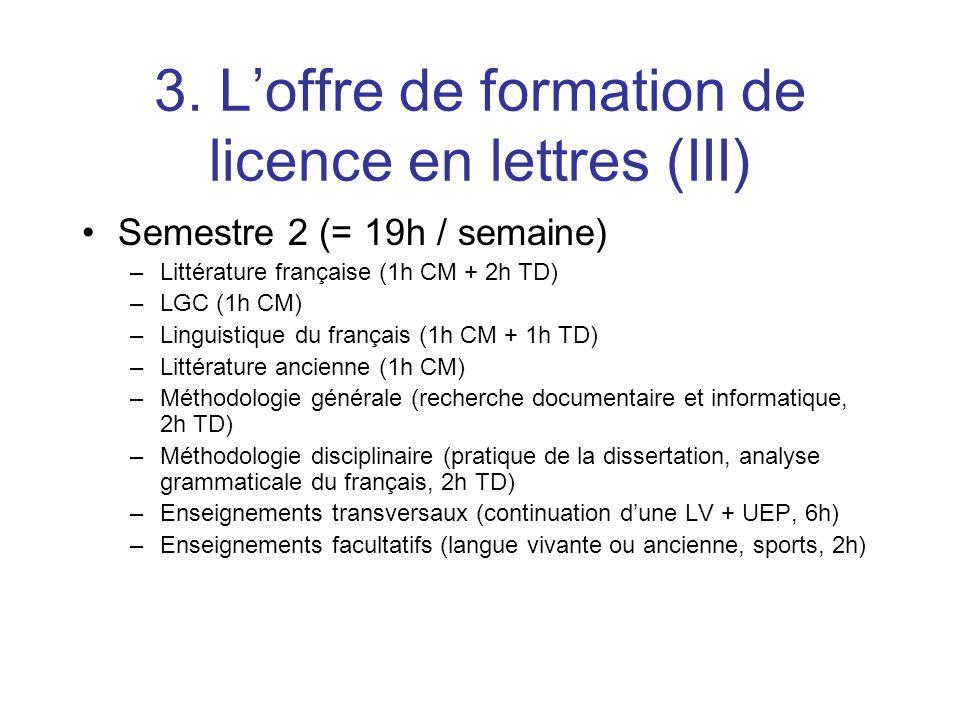 3. L'offre de formation de licence en lettres (III)