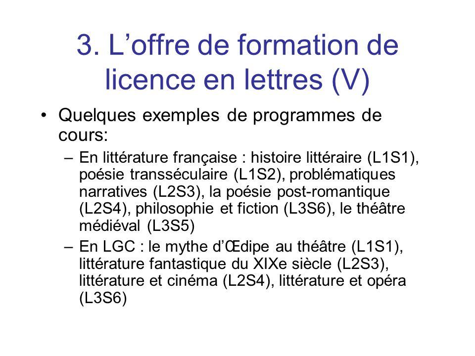 3. L'offre de formation de licence en lettres (V)