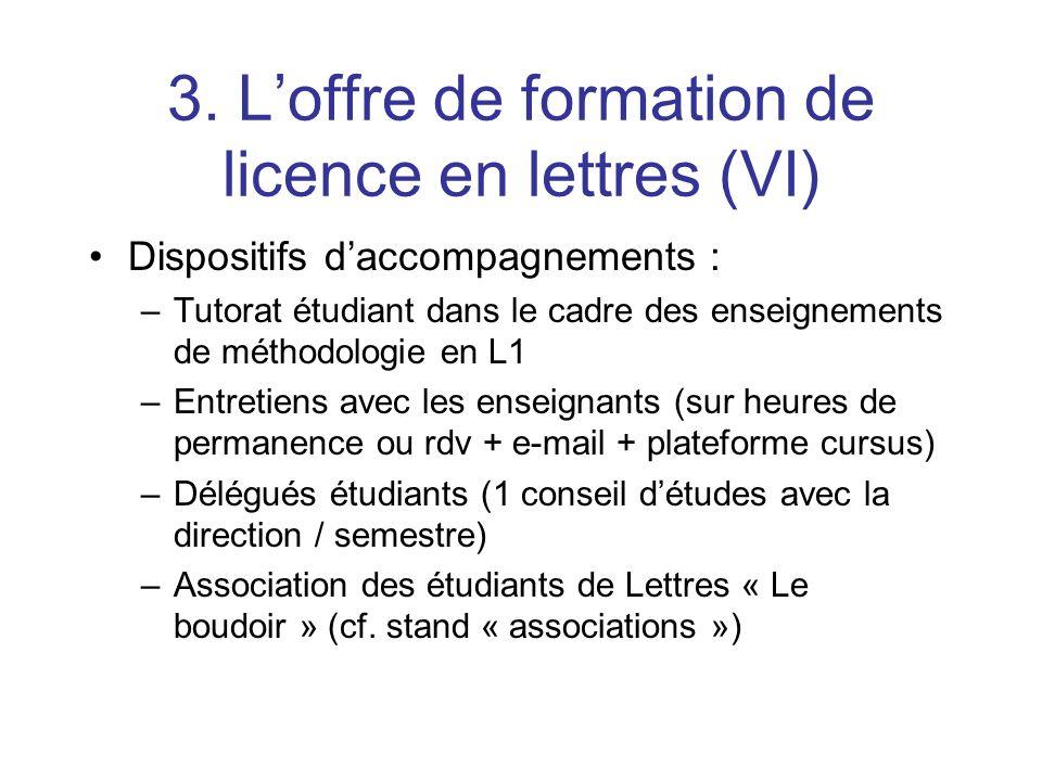 3. L'offre de formation de licence en lettres (VI)
