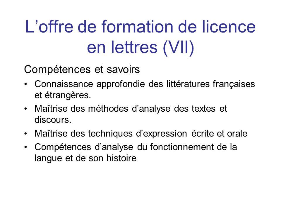 L'offre de formation de licence en lettres (VII)