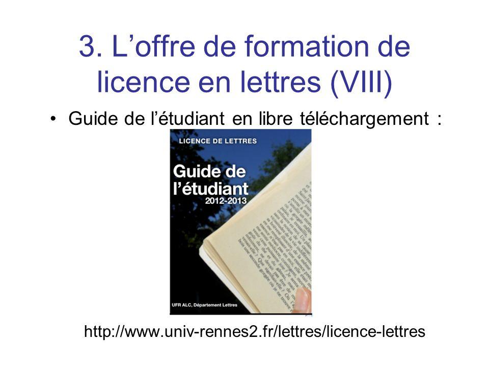 3. L'offre de formation de licence en lettres (VIII)