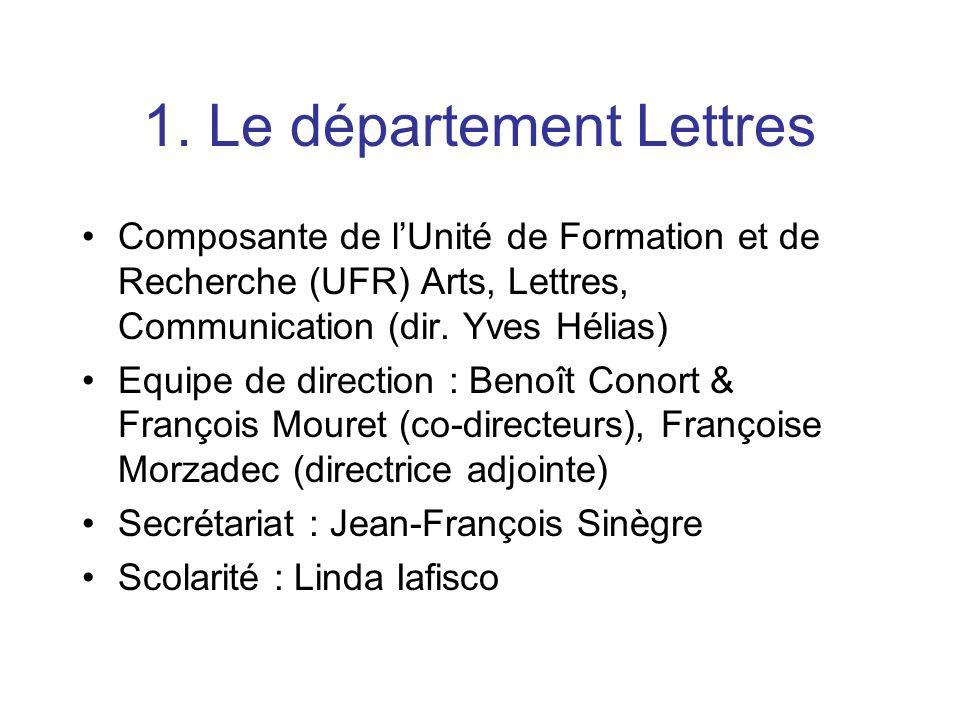 1. Le département Lettres