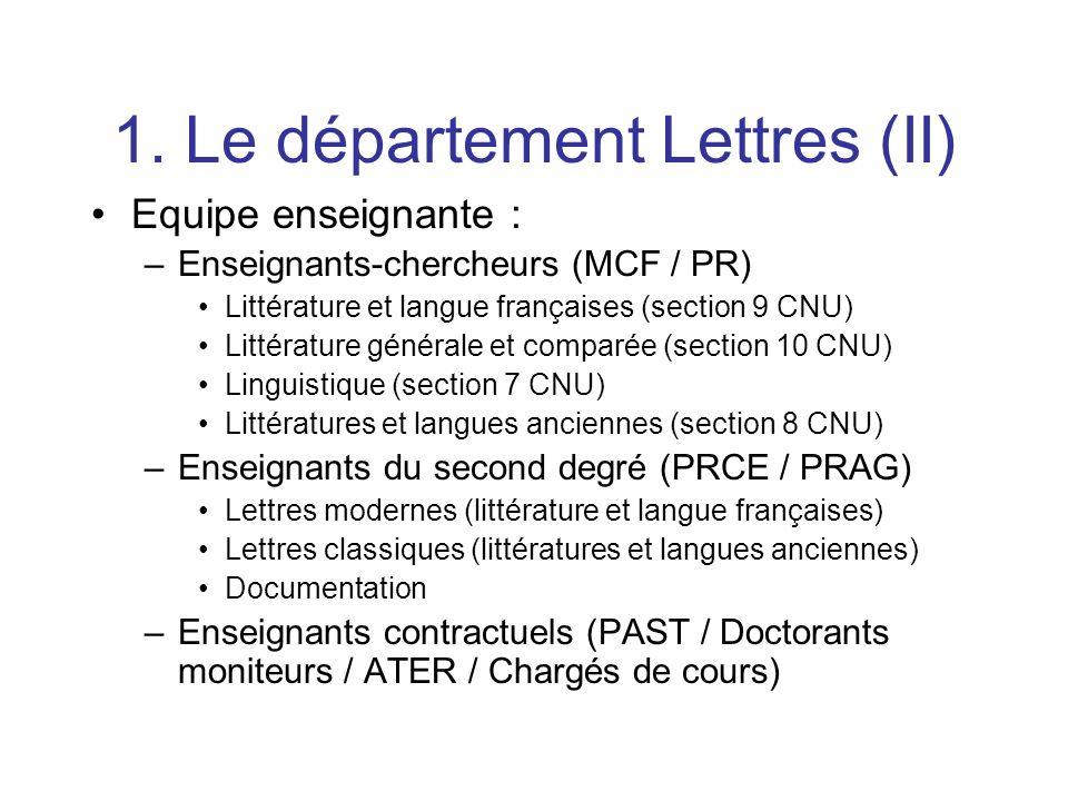 1. Le département Lettres (II)